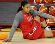 LOS ANGELES, CA - JULY 24:  Maya Moore #7 of the USA Womens National Team stretches during practice at the Galen Center in Los Angeles, California on July 24, 2016.  NOTE TO USER: User expressly acknowledges and agrees that, by downloading and/or using this Photograph, user is consenting to the terms and conditions of the Getty Images License Agreement. Mandatory Copyright Notice: Copyright 2016 NBAE  (Photo by Juan OCampo/NBAE/Getty Images)