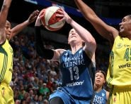MINNEAPOLIS, MN - AUGUST 28: Lindsay Whalen #13 of the Minnesota Lynx goes for a lay up during the game against the Seattle Storm during the WNBA game on August 28, 2016 at Target Center in Minneapolis, Minnesota.  NOTE TO USER: User expressly acknowledges and agrees that, by downloading and or using this Photograph, user is consenting to the terms and conditions of the Getty Images License Agreement. Mandatory Copyright Notice: Copyright 2016 NBAE (Photo by David Sherman/NBAE via Getty Images)