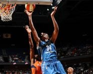 UNCASVILLE, CT - AUGUST 26:  Sylvia Fowles #34 of the Minnesota Lynx shoots the ball against the Connecticut Sun on August 26, 2016 at the Mohegan Sun Arena in Uncasville, Connecticut. NOTE TO USER: User expressly acknowledges and agrees that, by downloading and/or using this Photograph, user is consenting to the terms and conditions of the Getty Images License Agreement. Mandatory Copyright Notice: Copyright 2016 NBAE (Photo by Brian Babineau/NBAE via Getty Images)