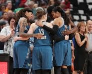 ST. PAUL, MN - SEPTEMBER 30:  The Minnesota Lynx huddle during the game against the Phoenix Mercury in Game Two of the Semifinals during the 2016 WNBA Playoffs on September 30, 2016 at Xcel Energy Center in St. Paul, Minnesota.  NOTE TO USER: User expressly acknowledges and agrees that, by downloading and or using this Photograph, user is consenting to the terms and conditions of the Getty Images License Agreement. Mandatory Copyright Notice: Copyright 2016 NBAE (Photo by Jordan Johnson/NBAE via Getty Images)