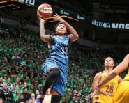 MINNEAPOLIS, MN - OCTOBER 20:  Seimone Augustus #33 of the Minnesota Lynx drives to the basket against the Los Angeles Sparks during Game Five of the 2016 WNBA Finals on October 20, 2016 at Target Center in Minneapolis, Minnesota. NOTE TO USER: User expressly acknowledges and agrees that, by downloading and or using this Photograph, user is consenting to the terms and conditions of the Getty Images License Agreement. Mandatory Copyright Notice: Copyright 2016 NBAE (Photo by David Sherman/NBAE via Getty Images)
