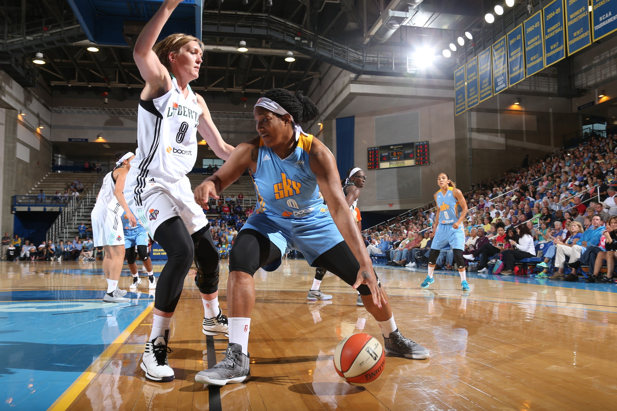 Markeisha Gatling #9 of the Chicago Sky handles the ball against the New York Liberty at the Bob Carpenter Center in Newark, DE on May 22.