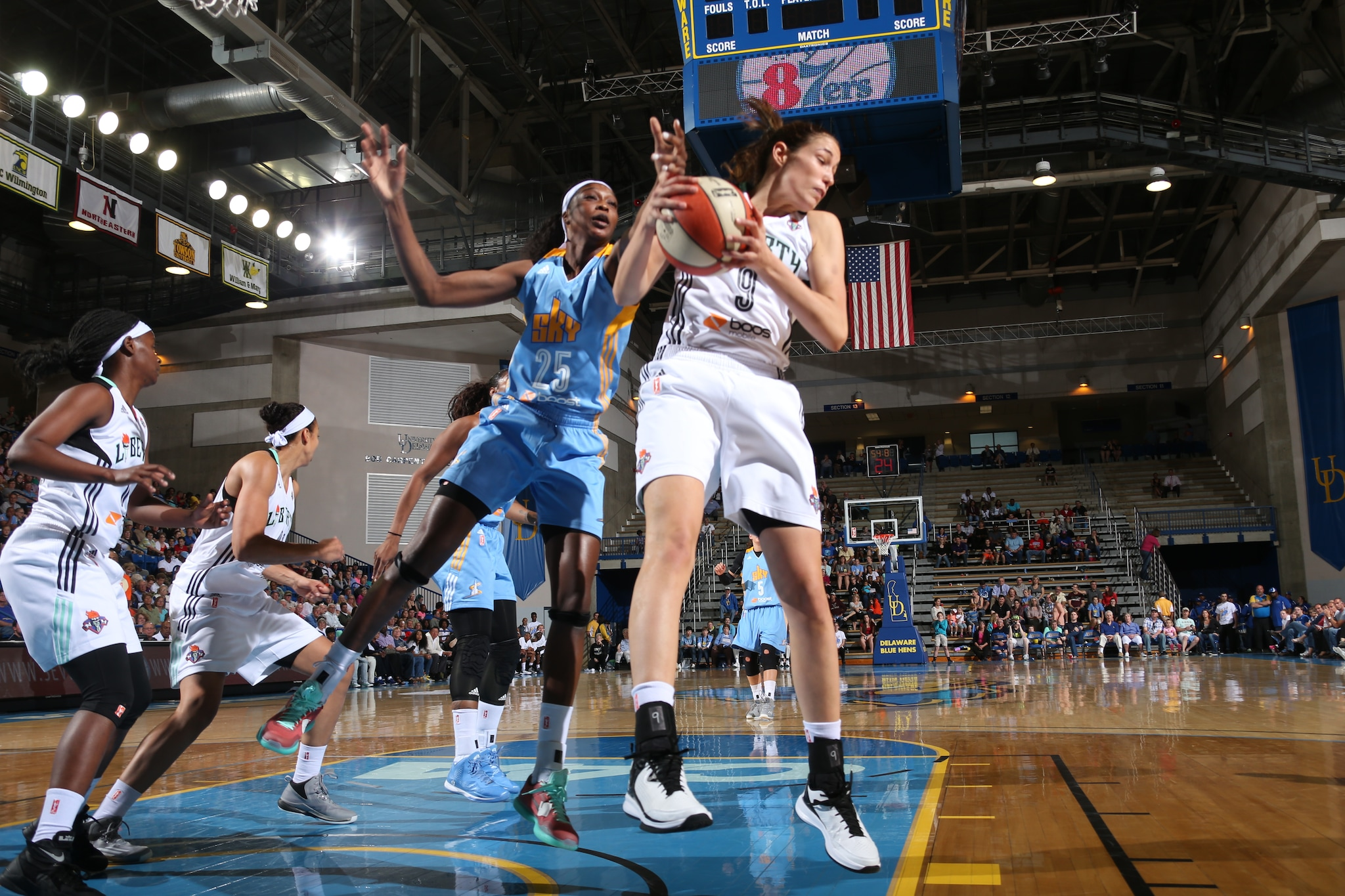Rebecca Allen #9 of the New York Liberty grabs a rebound against the Chicago Sky at the Bob Carpenter Center in Newark, DE on May 22.