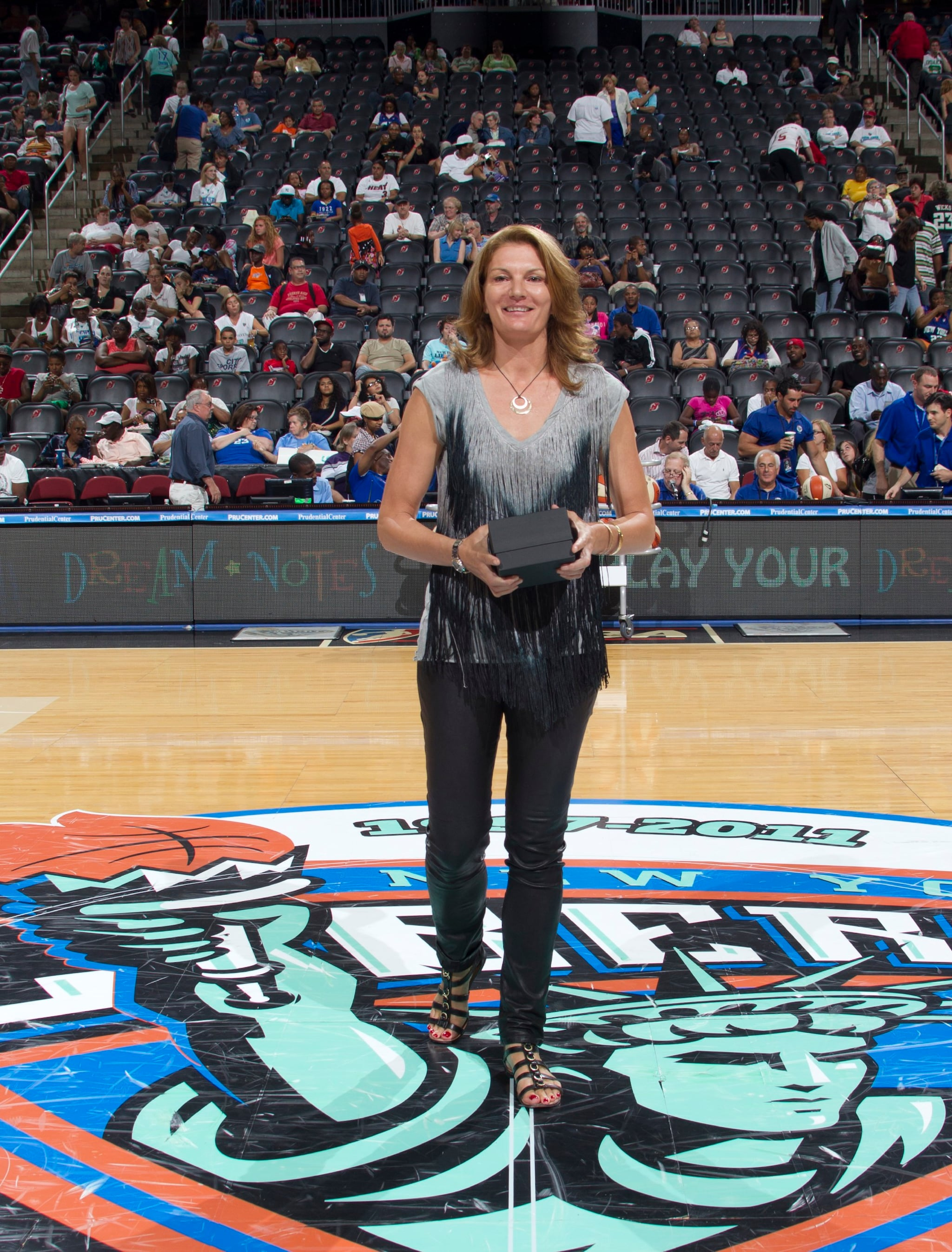 "July 28, 2011; The New York Liberty versus the Washington Mystics at the Prudential Center in Newark, NJ. The Liberty win, 75-71. The Liberty induct retired player Sue Wicks (1997-2002) into its ""Ring of Honor"" in a ceremony at halftime."