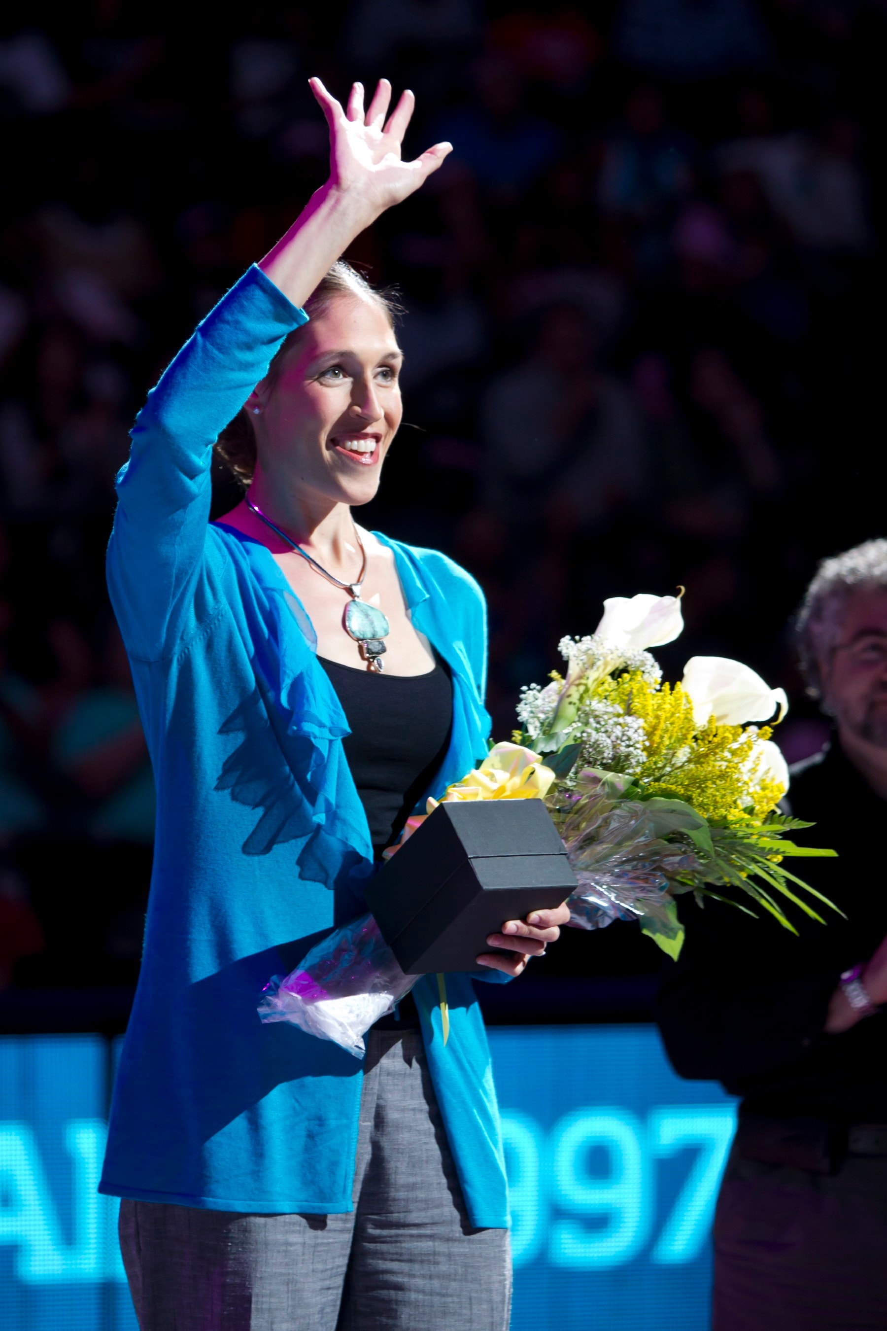 """August 9, 2011; The New York Liberty versus the Seattle Storm at the Prudential Center in Newark, NJ. The Liberty win, 58-56. The Liberty induct retired player Rebecca Lobo (1997-2001) into its """"Ring of Honor"""" in a ceremony at halftime."""