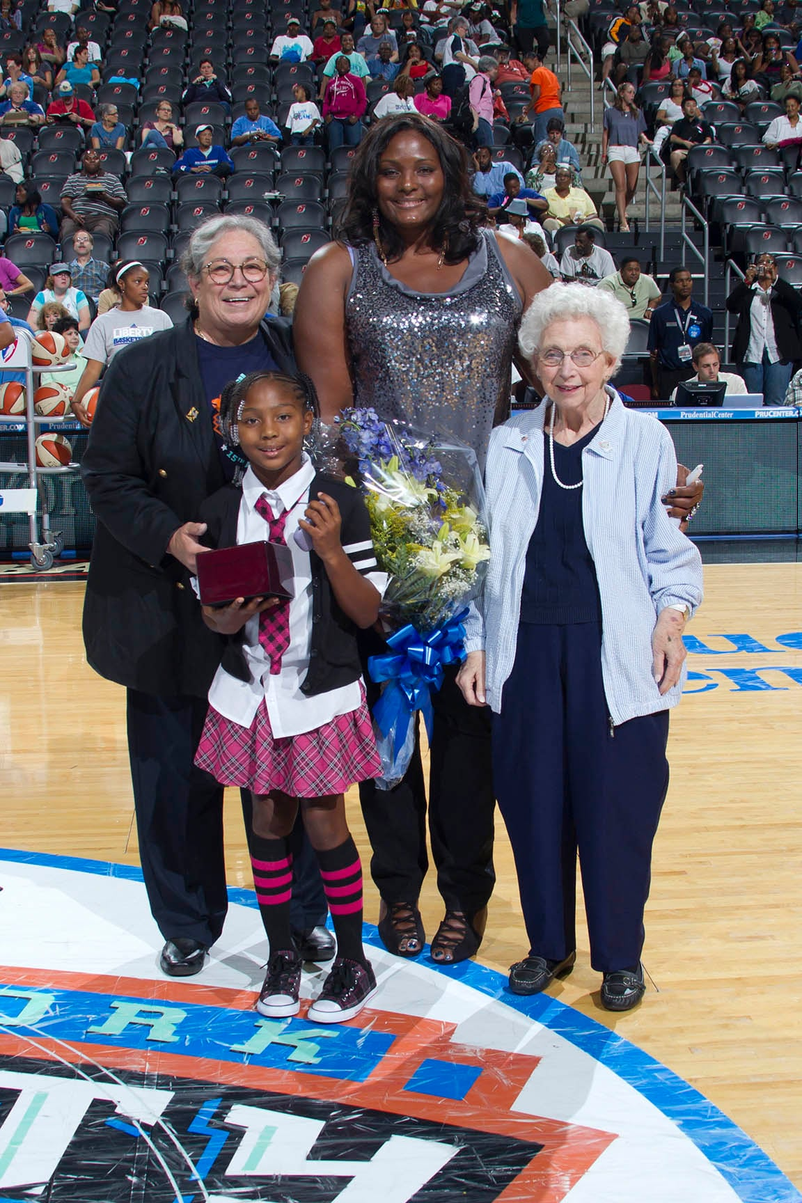 "August 30, 2011; The New York Liberty versus the Chicago Sky at the Prudential Center in Newark, NJ. The Liberty win, 71-67. The Liberty induct retired player Kym Hampton (1997-1999) as the fifth and final member into its ""Ring of Honor"" in a halftime ceremony."