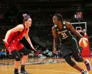 WASHINGTON, DC - JULY 20:  Tina Charles #31 of the New York Liberty handles the ball against Stefanie Dolson #31 of the Washington Mystics on July 20, 2016 at Verizon Center in Washington, DC. NOTE TO USER: User expressly acknowledges and agrees that, by downloading and or using this Photograph, user is consenting to the terms and conditions of the Getty Images License Agreement. Mandatory Copyright Notice: Copyright 2016 NBAE (Photo by Ned Dishman/NBAE via Getty Images)