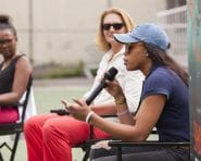 August 2, 2016: Chase and the New York Liberty host a girls empowerment panel with Kym Hampton, Sue Wicks and Brittany Boyd with the Dyckman High School basketball league at Monsignor Kett Playground in New York City.