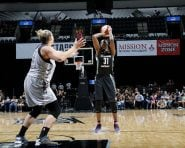 SAN ANTONIO, TX - AUGUST 26: Tina Charles #31 of the New York Liberty shoots the ball during the game against Jayne Appel-Marinelli #32 of the San Antonio Stars during the WNBA game on August 26, 2016 at the AT&T Center in San Antonio, Texas. NOTE TO USER: User expressly acknowledges and agrees that, by downloading and or using this photograph, user is consenting to the terms and conditions of the Getty Images License Agreement. Mandatory Copyright Notice: Copyright 2016 NBAE (Photos by Chris Covatta/NBAE via Getty Images)