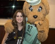 August 19, 2016: Children from Madison Square Boys & Girls Club were presented with back-to-school gear from Footlocker by Disney star Laura Marano and New York Liberty mascot Maddie.
