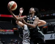 SAN ANTONIO, TX - AUGUST 26: Sugar Rodgers #14 of the New York Liberty goes for the lay up during the game against the San Antonio Stars during the WNBA game on August 26, 2016 at the AT&T Center in San Antonio, Texas. NOTE TO USER: User expressly acknowledges and agrees that, by downloading and or using this photograph, user is consenting to the terms and conditions of the Getty Images License Agreement. Mandatory Copyright Notice: Copyright 2016 NBAE (Photos by Chris Covatta/NBAE via Getty Images)