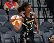 SAN ANTONIO, TX - AUGUST 26: Sugar Rodgers #14 of the New York Liberty handles the ball during the game against the San Antonio Stars during the WNBA game on August 26, 2016 at the AT&T Center in San Antonio, Texas. NOTE TO USER: User expressly acknowledges and agrees that, by downloading and or using this photograph, user is consenting to the terms and conditions of the Getty Images License Agreement. Mandatory Copyright Notice: Copyright 2016 NBAE (Photos by Chris Covatta/NBAE via Getty Images)