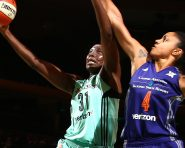NEW YORK, NY - SEPTEMBER 3: Tina Charles #31 of the New York Liberty goes for a lay up during the game against Candice Dupree #4 of the Phoenix Mercury during a WNBA game on September 3, 2016 at Madison Square Garden in New York City, New York.  NOTE TO USER: User expressly acknowledges and agrees that, by downloading and or using this photograph, User is consenting to the terms and conditions of the Getty Images License Agreement. Mandatory Copyright Notice: Copyright 2016 NBAE  (Photo by Nathaniel S. Butler/NBAE via Getty Images)