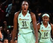 NEW YORK, NY - SEPTEMBER 24:  Tina Charles #31 of the New York Liberty celebrates during the game against the Phoenix Mercury during Round Two of the 2016 WNBA Playoffs on September 24, 2016 at Madison Square Garden in New York City, New York. NOTE TO USER: User expressly acknowledges and agrees that, by downloading and or using this photograph, User is consenting to the terms and conditions of the Getty Images License Agreement. Mandatory Copyright Notice: Copyright 2016 NBAE (Photo by David Dow/NBAE via Getty Images)