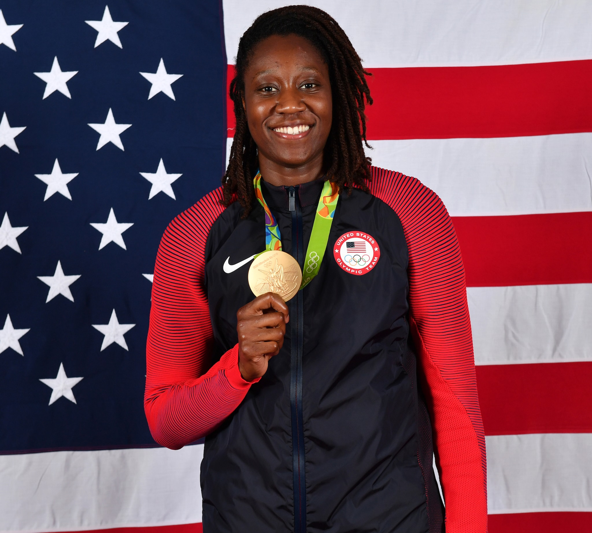 RIO DE JANEIRO - AUGUST 20:  Tina Charles #14 of the USA Basketball Women's National Team poses after winning the Gold Medal at the Rio 2016 Olympic games on August 20, 2016.   NOTE TO USER: User expressly acknowledges and agrees that, by downloading and/or using this Photograph, user is consenting to the terms and conditions of the Getty Images License Agreement. Mandatory Copyright Notice: Copyright 2016 NBAE (Photo by Jesse D. Garrabrant/NBAE via Getty Images)