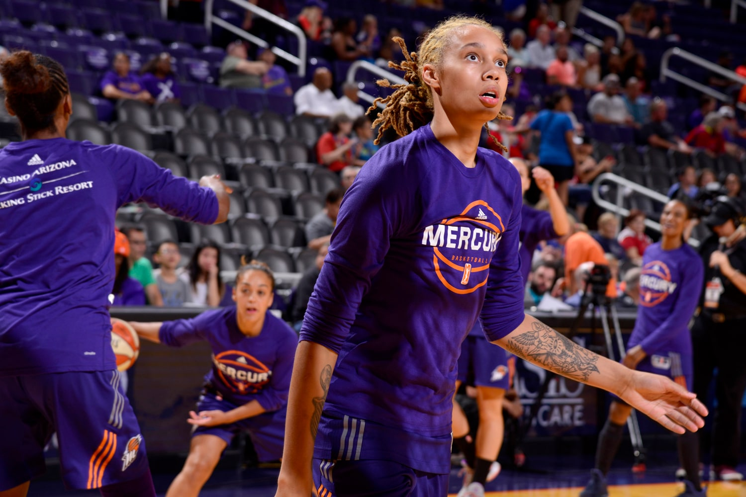 Brittney Griner of the Phoenix Mercury warms up