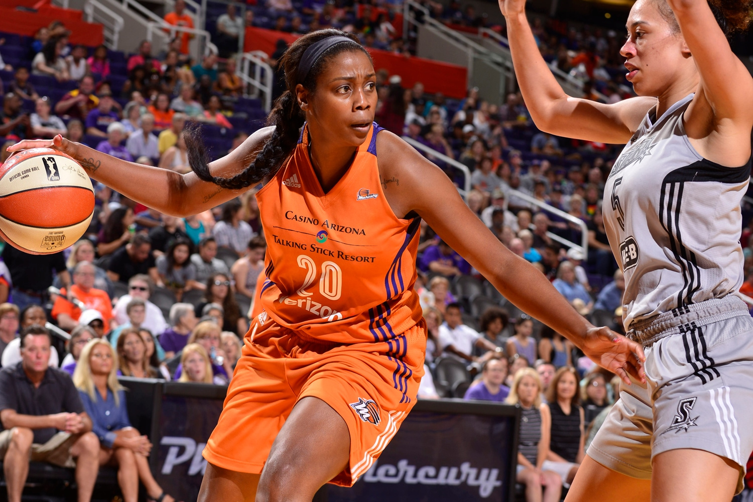 Camille Little works on offense as San Antonio Stars v Phoenix Mercury