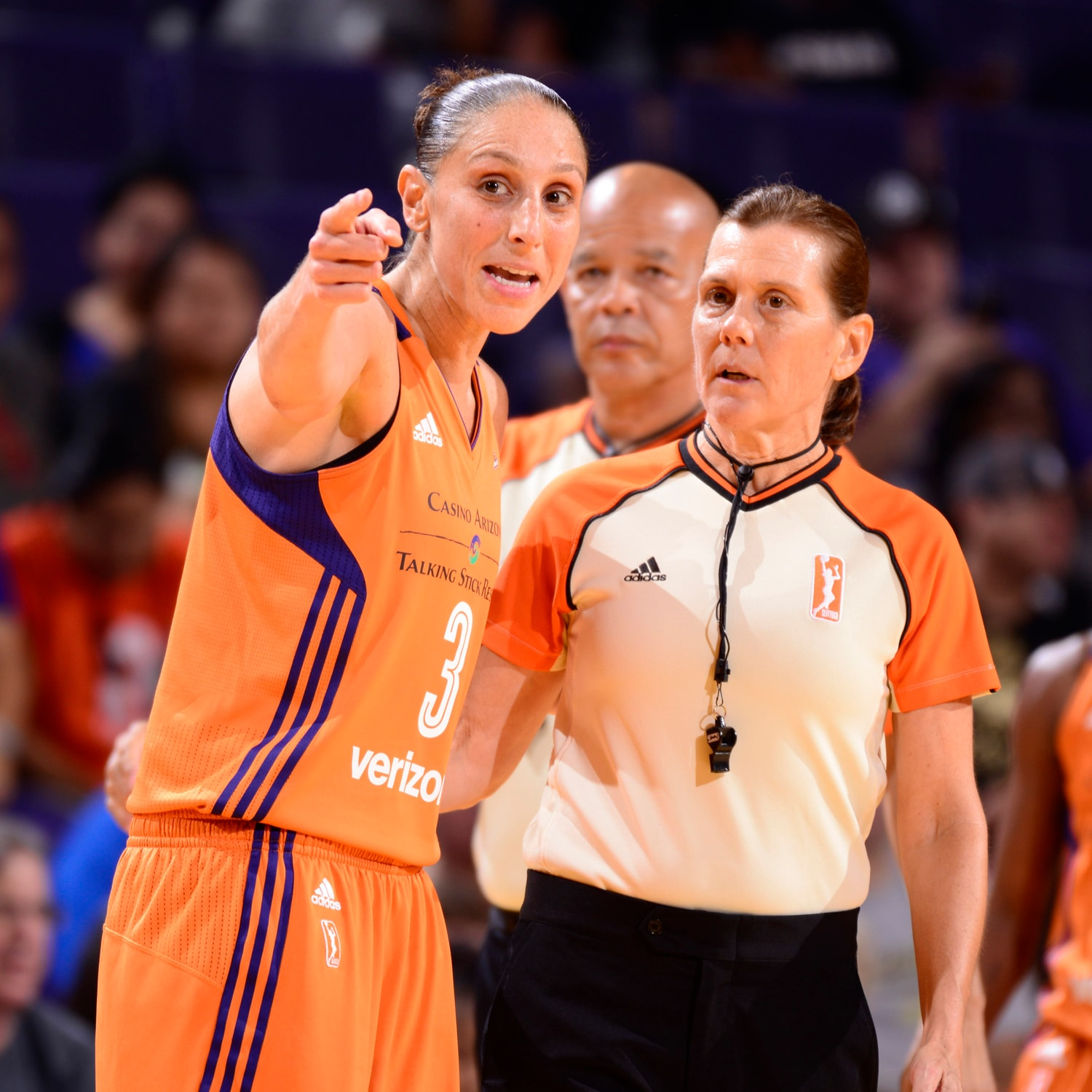 taurasi with the ref San Antonio Stars v Phoenix Mercury