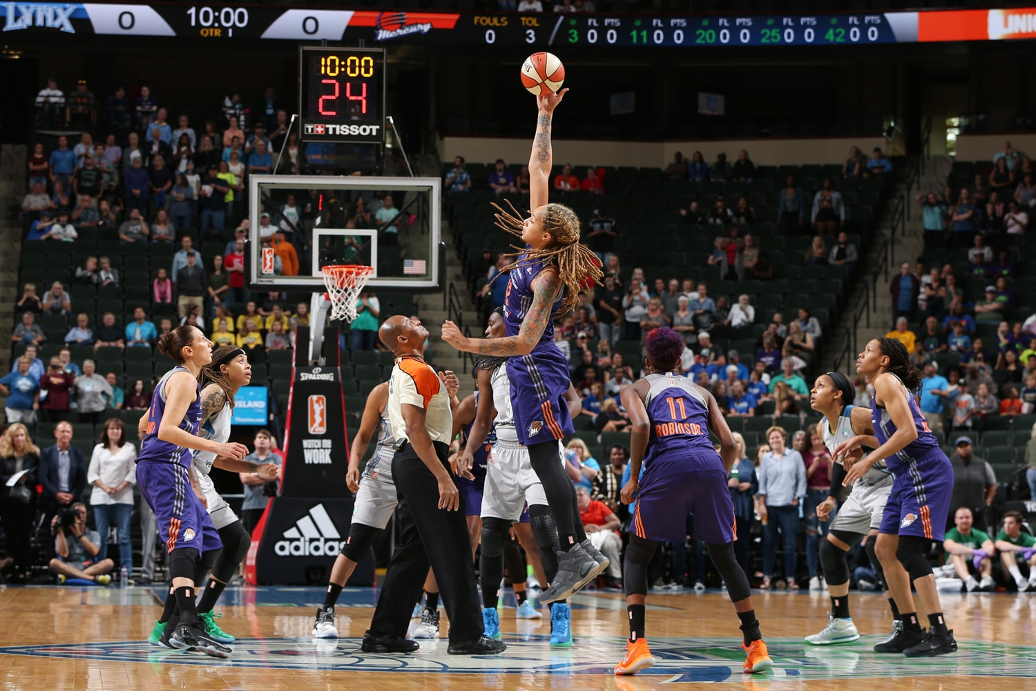 Brittney Griner jumps center to start game in Minnesota