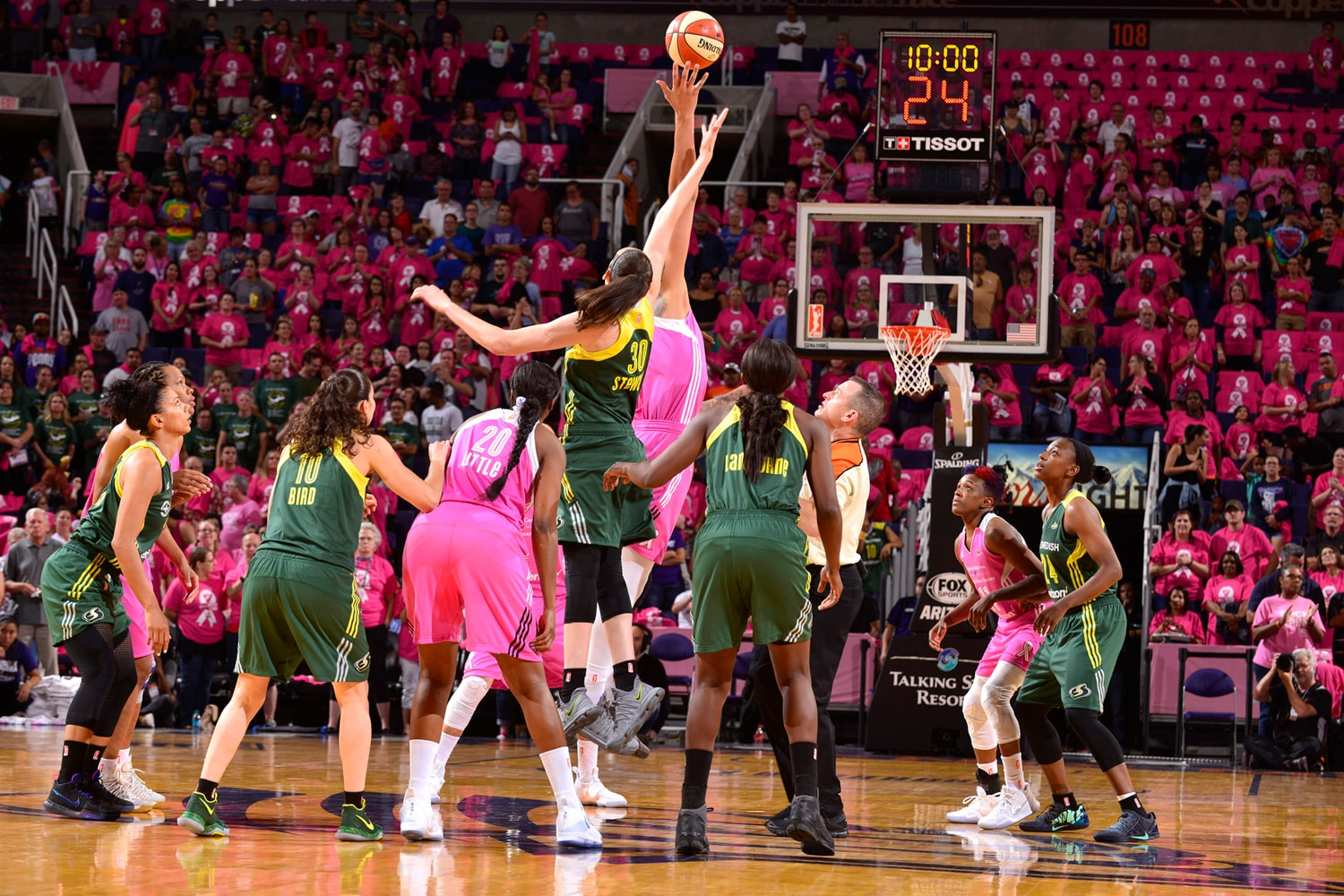 Seattle Storm v Phoenix Mercury tip-off brittney griner