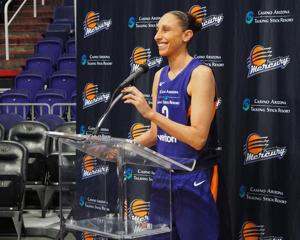 Diana Taurasi at the podium