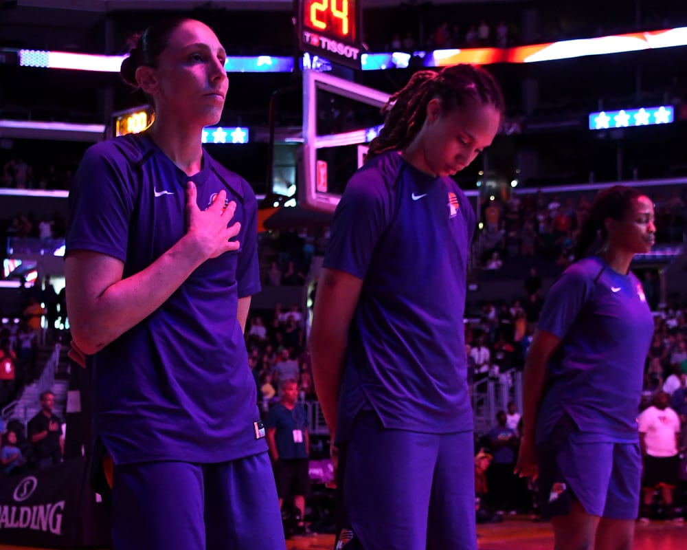 Diana Taurasi and Brittney Griner national anthem