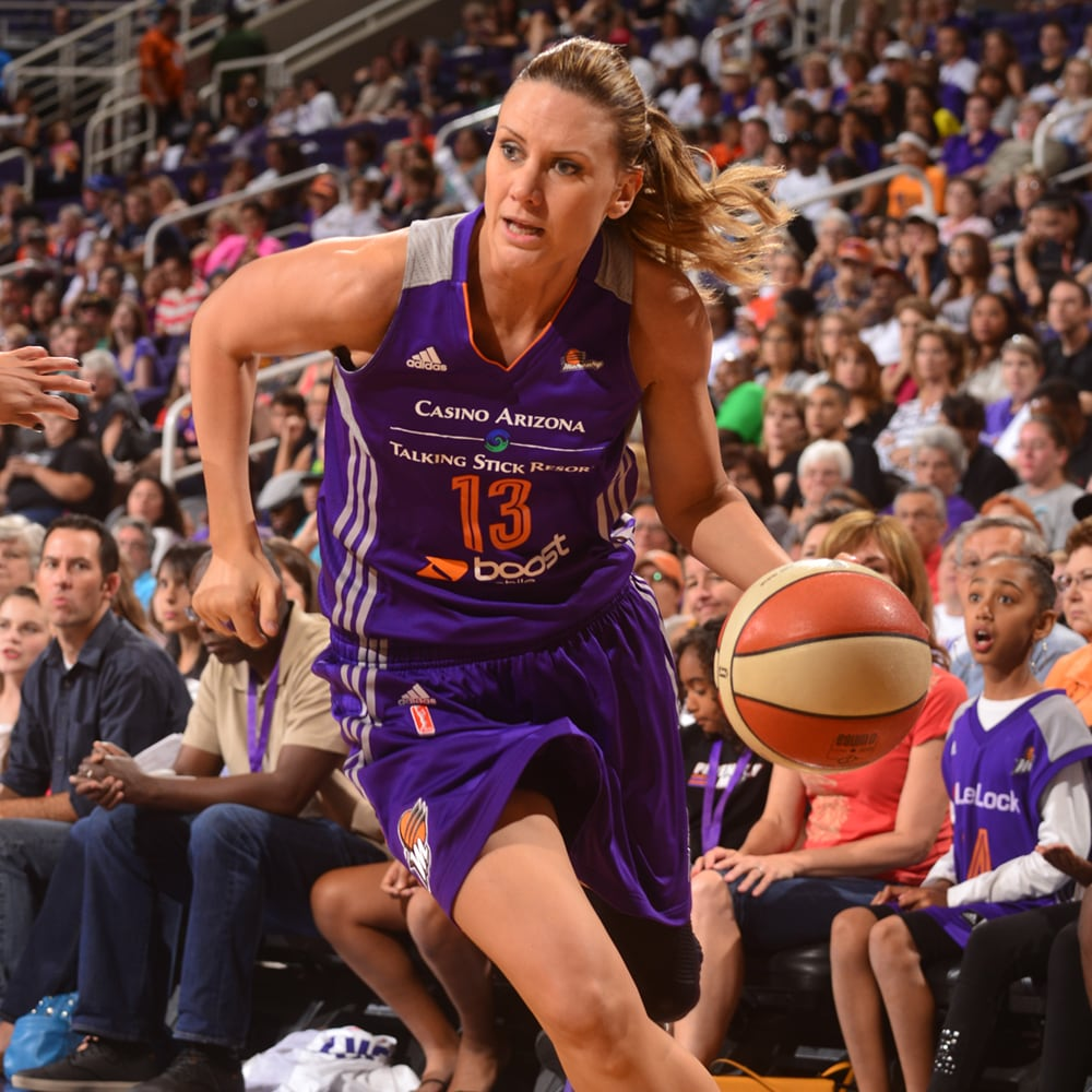 Penny Taylor with a determined drive