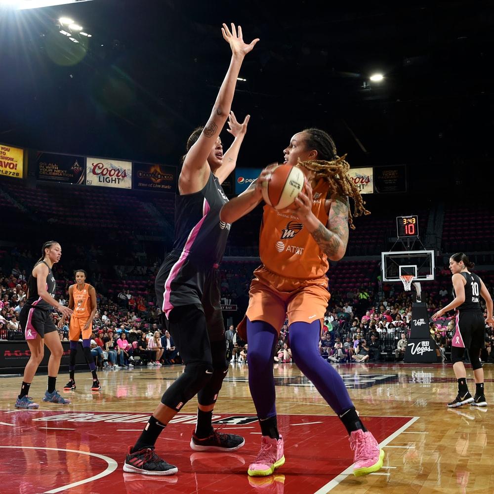 Brittney Griner battles for a bucket