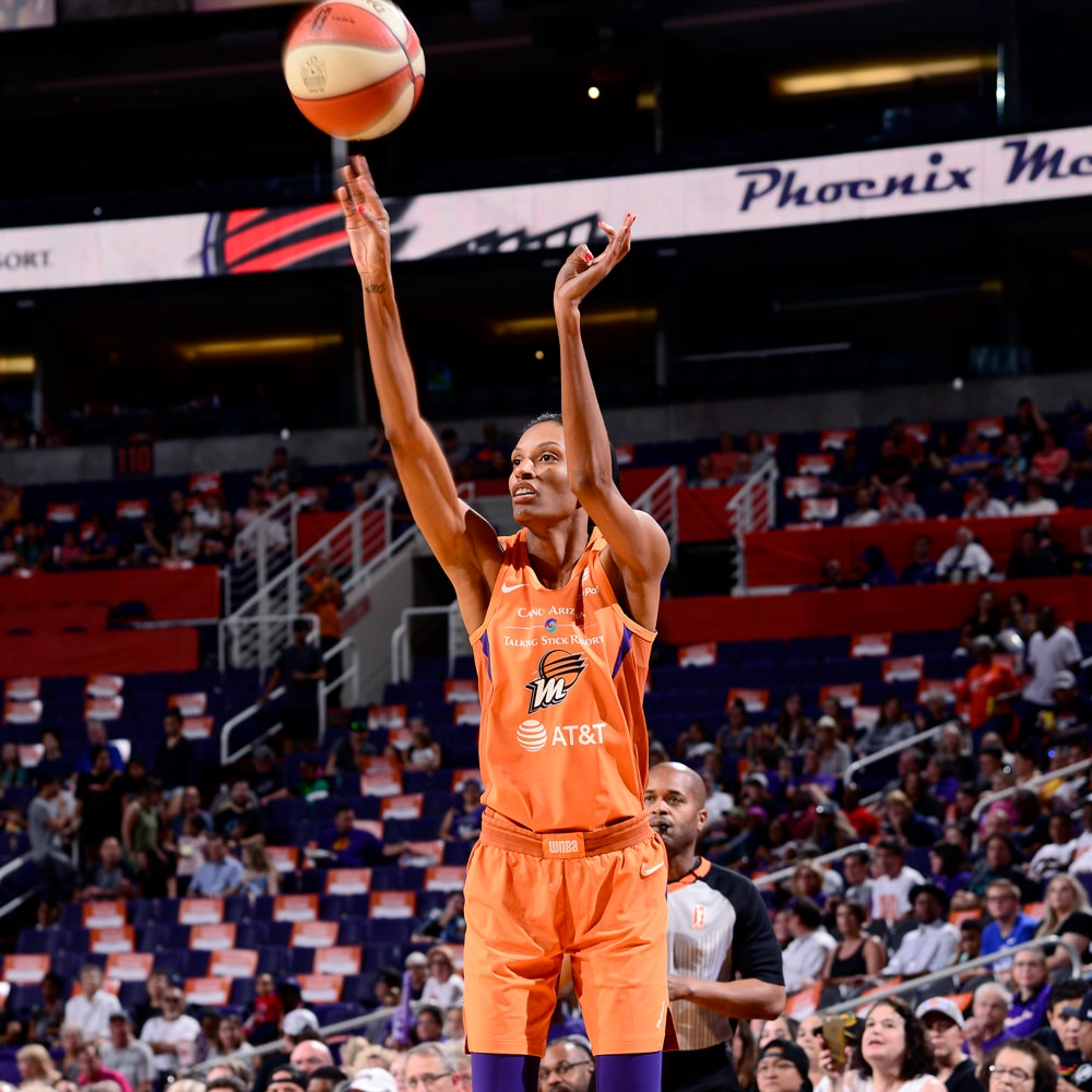 DeWanna Bonner shoots from three-point territory