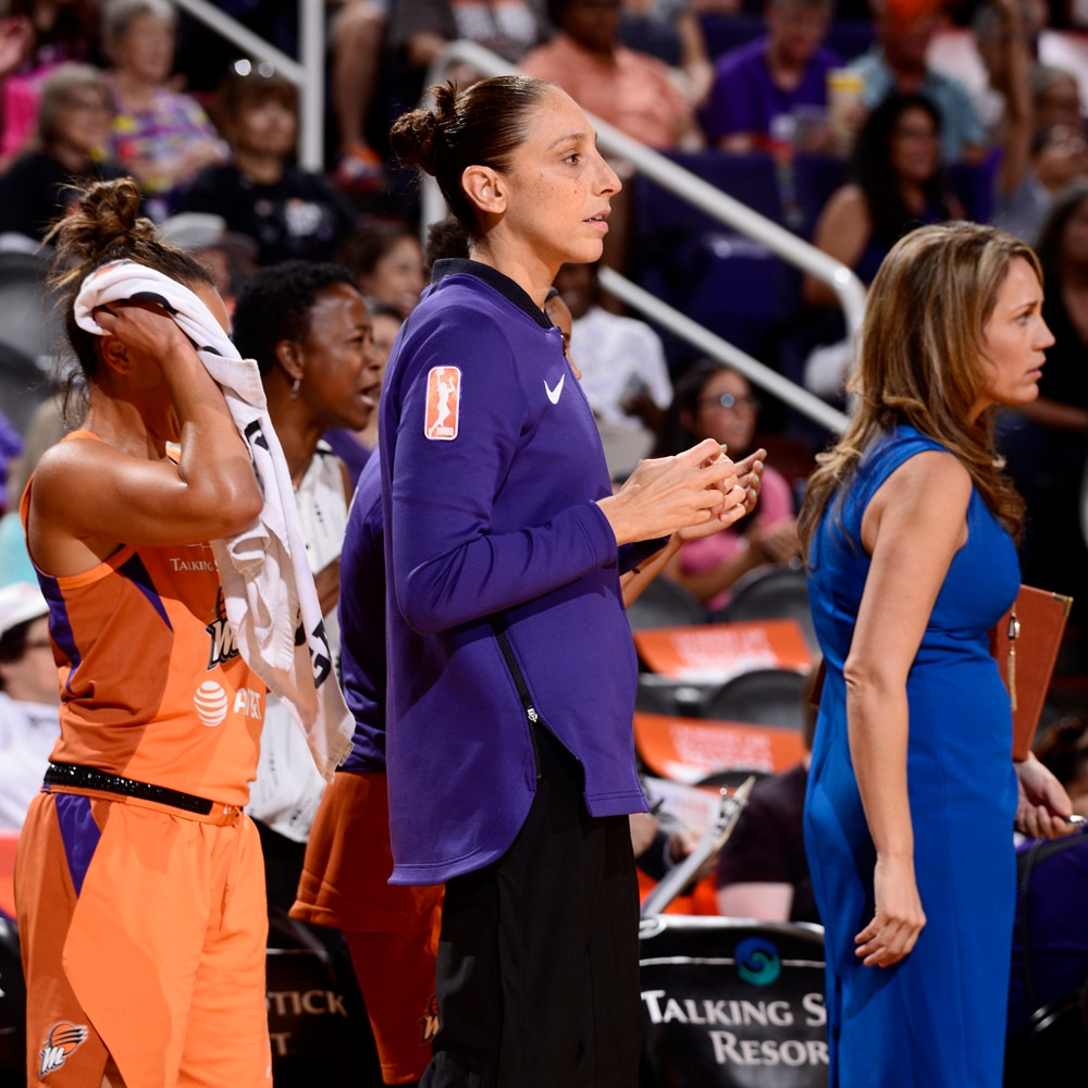 Diana Taurasi on the sidelines