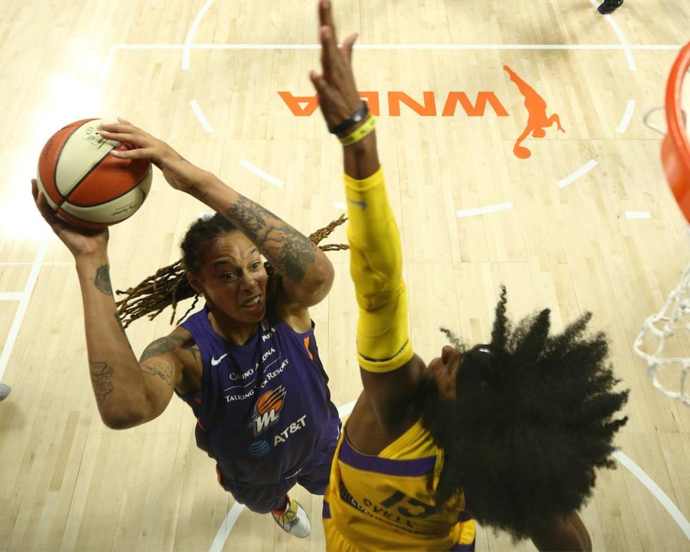 Brittney Griner draws the foul
