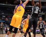LOS ANGELES, CA - AUGUST 30: Sophia Young-Malcolm #33 of the San Antonio Stars shoots against Candace Parker #3 of the Los Angeles Sparks at STAPLES Center on August 30, 2015 in Los Angeles, California. NOTE TO USER: User expressly acknowledges and agrees that, by downloading and/or using this Photograph, user is consenting to the terms and conditions of the Getty Images License Agreement. Mandatory Copyright Notice: Copyright 2015 NBAE (Photo by Andrew D. Bernstein/NBAE via Getty Images)