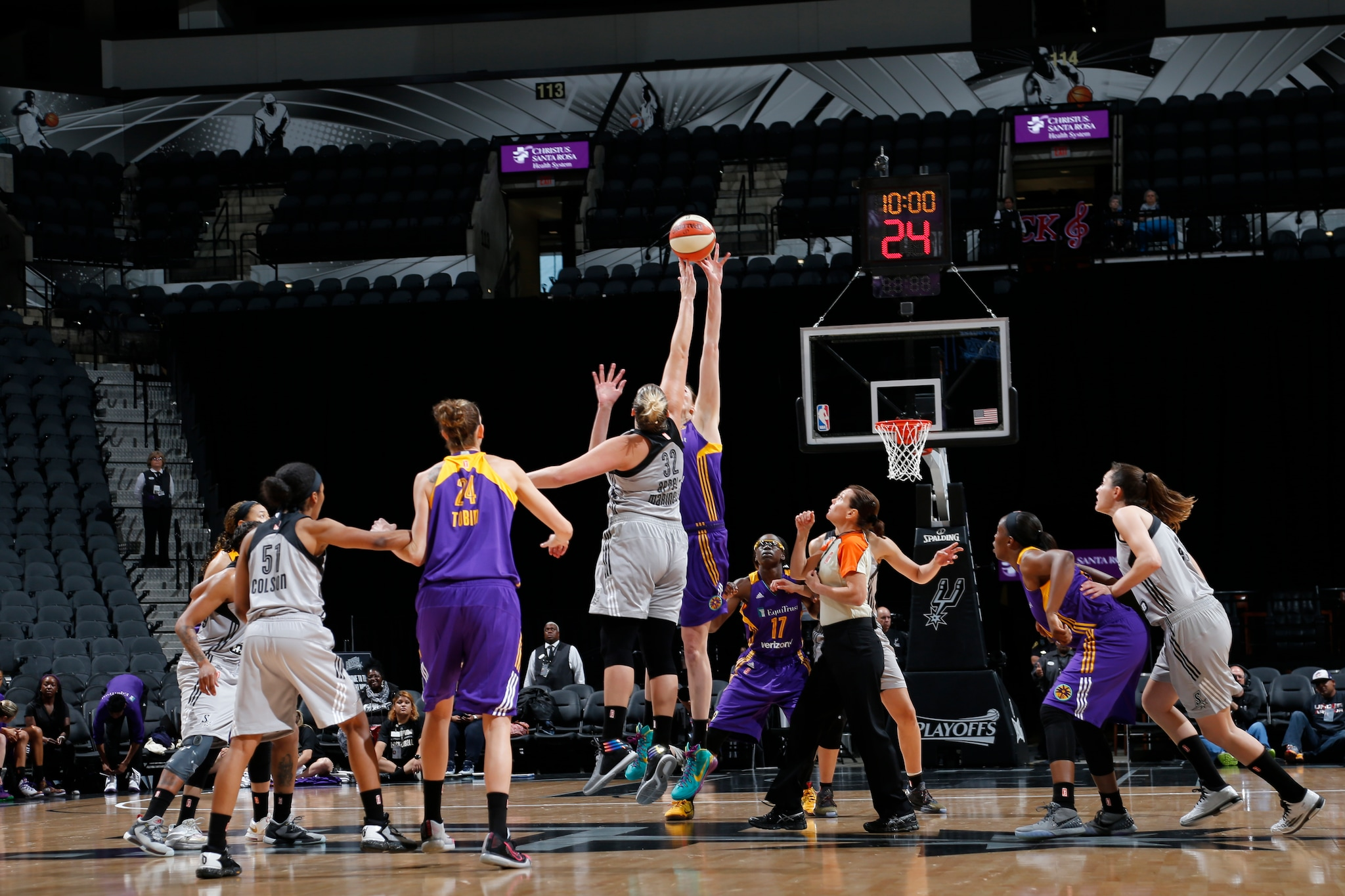 SAN ANTONIO, TX - MAY 9:  The opening tipoff between the San Antonio Stars and the Los Angeles Sparks on May 9, 2016 at the AT&T Center in San Antonio, Texas. NOTE TO USER: User expressly acknowledges and agrees that, by downloading and or using this photograph, user is consenting to the terms and conditions of the Getty Images License Agreement. Mandatory Copyright Notice: Copyright 2016 NBAE (Photos by Chris Covatta/NBAE via Getty Images)