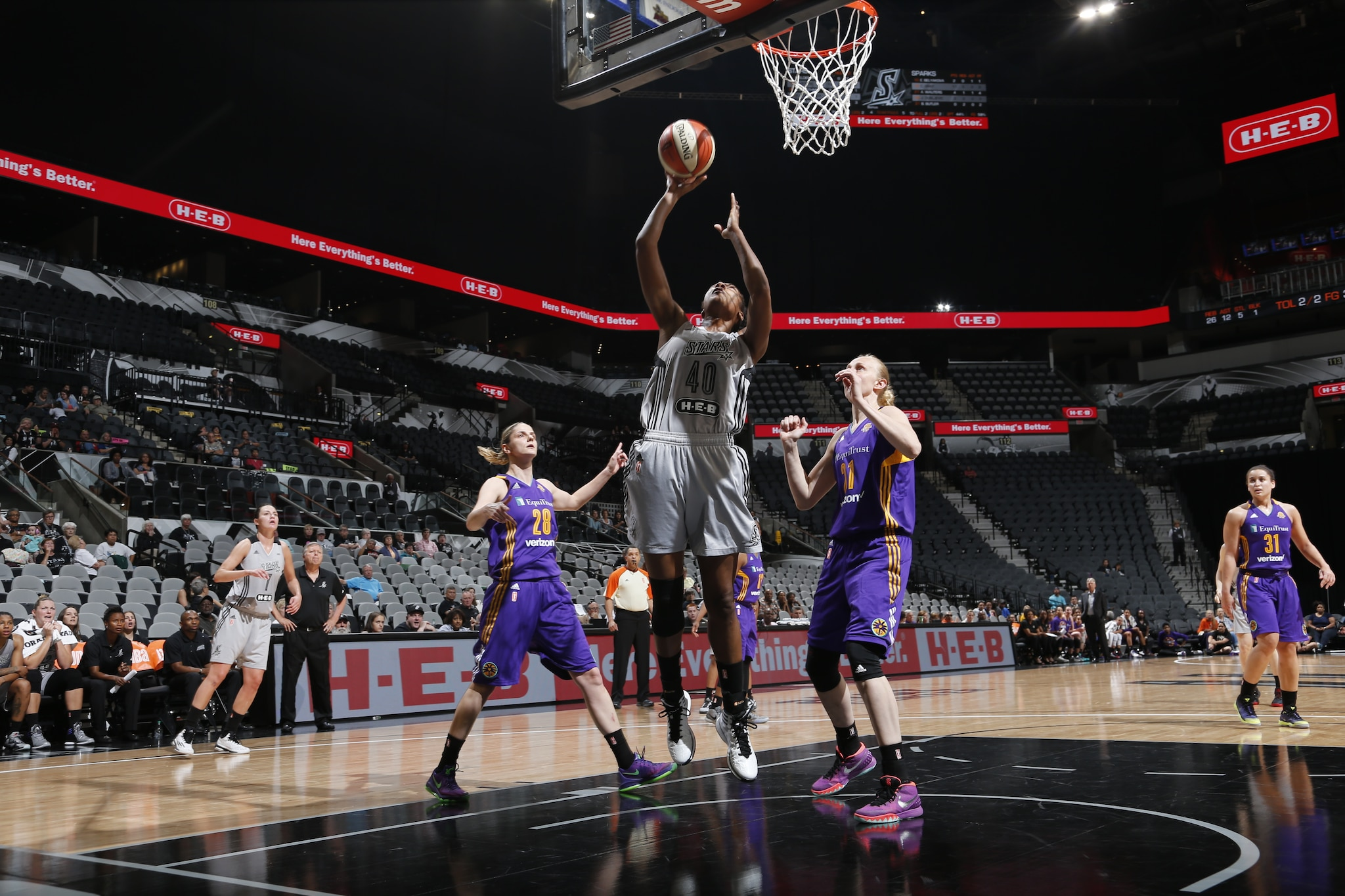 SAN ANTONIO, TX - MAY 9:  Kayla Alexander #40 of the San Antonio Stars shoots the ball against the Los Angeles Sparks on May 9, 2016 at the AT&T Center in San Antonio, Texas. NOTE TO USER: User expressly acknowledges and agrees that, by downloading and or using this photograph, user is consenting to the terms and conditions of the Getty Images License Agreement. Mandatory Copyright Notice: Copyright 2016 NBAE (Photos by Chris Covatta/NBAE via Getty Images)