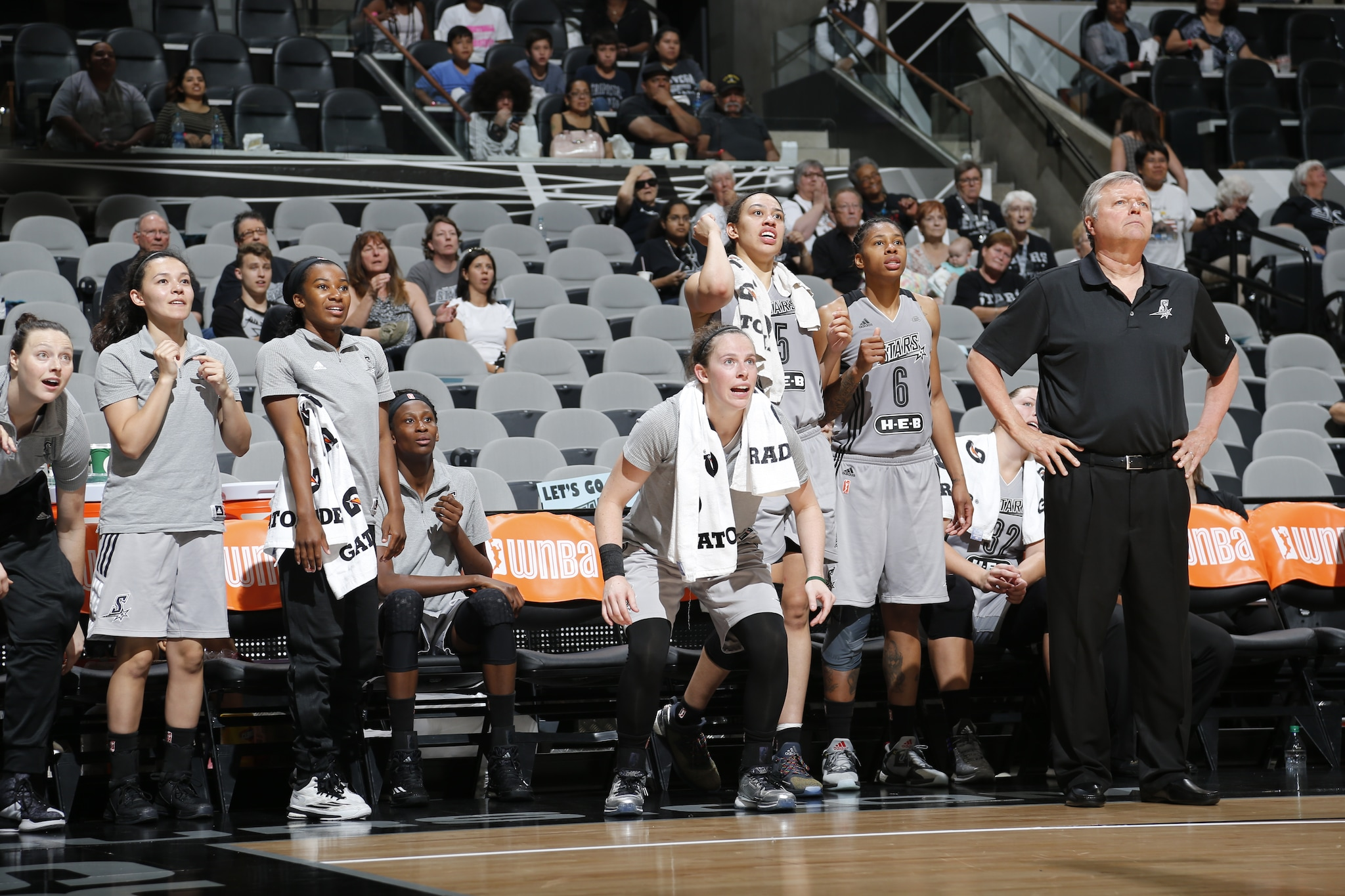 SAN ANTONIO, TX - MAY 9: The San Antonio Stars bench is seen during the game against the Los Angeles Sparks on May 9, 2016 at the AT&T Center in San Antonio, Texas. NOTE TO USER: User expressly acknowledges and agrees that, by downloading and or using this photograph, user is consenting to the terms and conditions of the Getty Images License Agreement. Mandatory Copyright Notice: Copyright 2016 NBAE (Photos by Chris Covatta/NBAE via Getty Images)