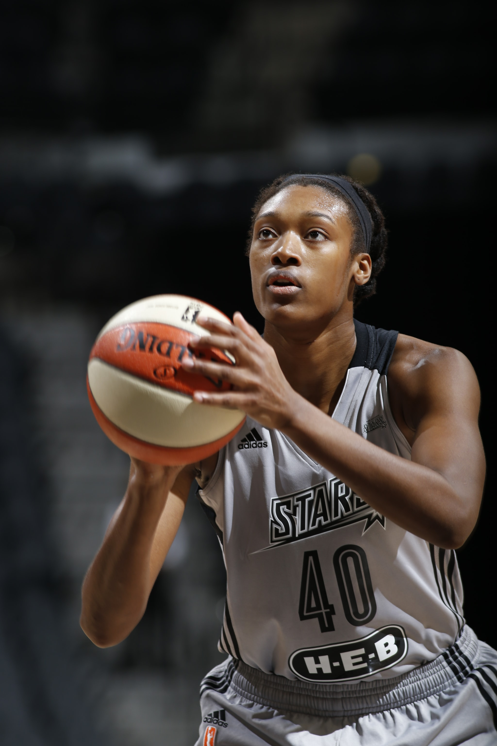 SAN ANTONIO, TX - MAY 9: Kayla Alexander #40 of the San Antonio Stars shoots a free throw against the Los Angeles Sparks on May 9, 2016 at the AT&T Center in San Antonio, Texas. NOTE TO USER: User expressly acknowledges and agrees that, by downloading and or using this photograph, user is consenting to the terms and conditions of the Getty Images License Agreement. Mandatory Copyright Notice: Copyright 2016 NBAE (Photos by Chris Covatta/NBAE via Getty Images)