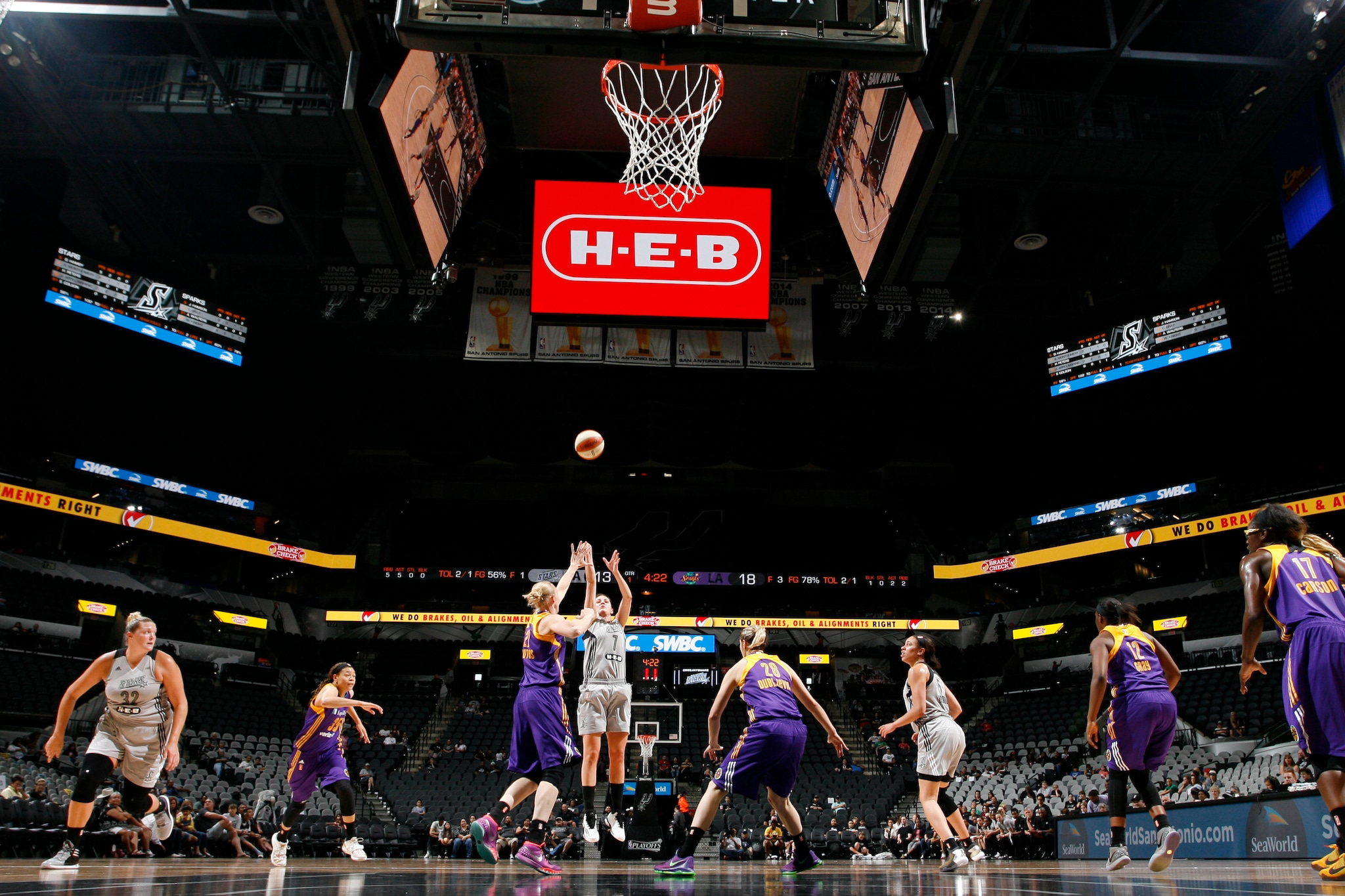 SAN ANTONIO, TX - MAY 9:  Haley Peters #7 of the San Antonio Stars shoots the ball Los Angeles Sparks on May 9, 2016 at the AT&T Center in San Antonio, Texas. NOTE TO USER: User expressly acknowledges and agrees that, by downloading and or using this photograph, user is consenting to the terms and conditions of the Getty Images License Agreement. Mandatory Copyright Notice: Copyright 2016 NBAE (Photos by Chris Covatta/NBAE via Getty Images)