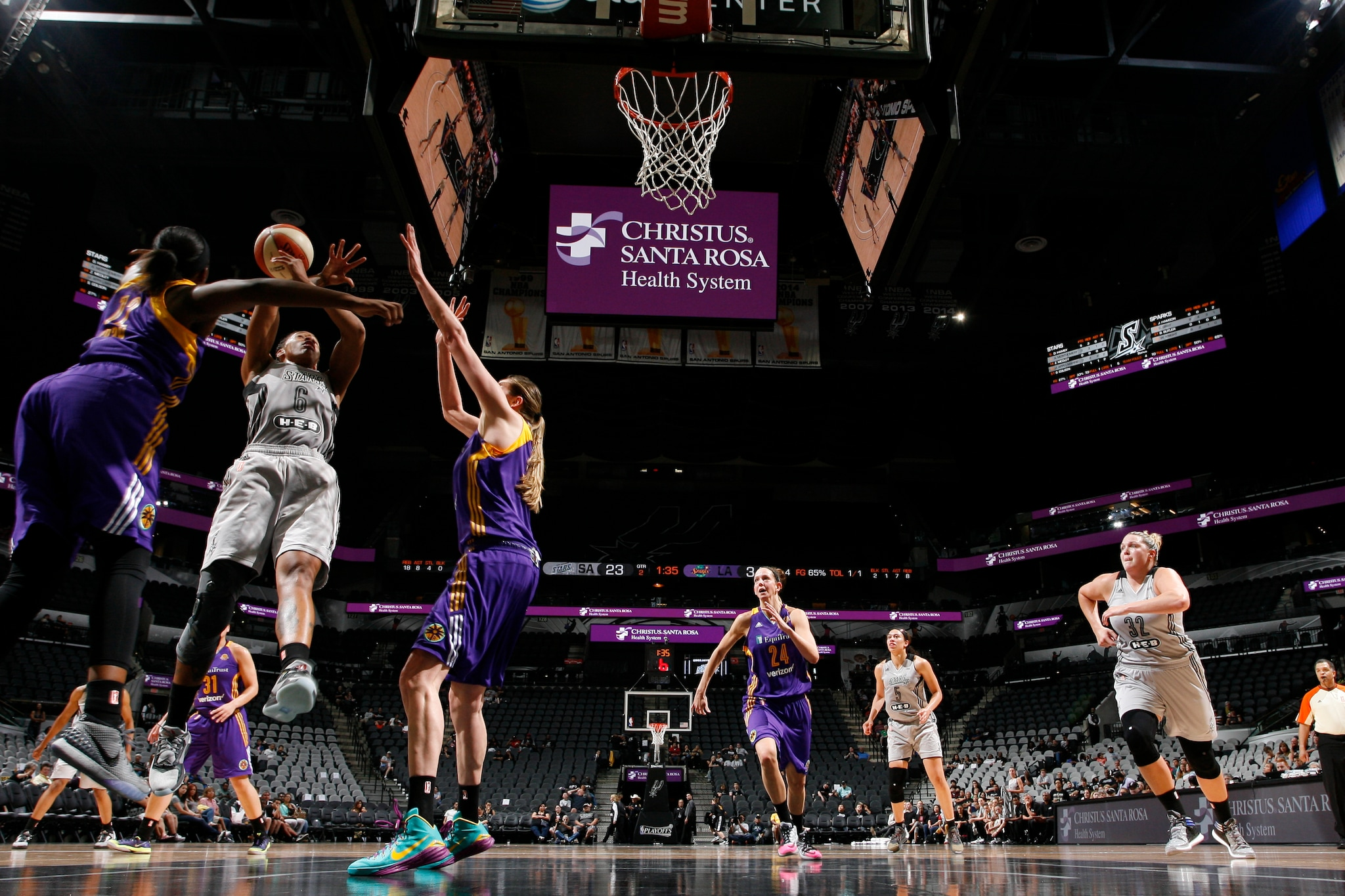 SAN ANTONIO, TX - MAY 9: Kayla Alexander #40 of the San Antonio Stars shoots the ball Los Angeles Sparks on May 9, 2016 at the AT&T Center in San Antonio, Texas. NOTE TO USER: User expressly acknowledges and agrees that, by downloading and or using this photograph, user is consenting to the terms and conditions of the Getty Images License Agreement. Mandatory Copyright Notice: Copyright 2016 NBAE (Photos by Chris Covatta/NBAE via Getty Images)