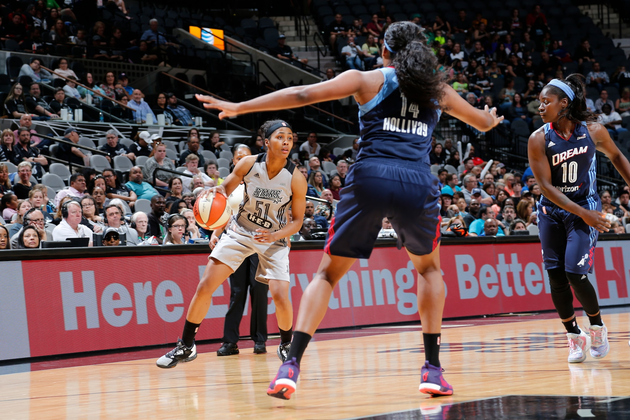 SAN ANTONIO, TX - MAY 14: Sydney Colson #51 of the San Antonio Stars drives to the basket against the Atlanta Dream during the game on May 14, 2016 at AT&T Center in San Antonio, Texas. NOTE TO USER: User expressly acknowledges and agrees that, by downloading and or using this Photograph, user is consenting to the terms and conditions of the Getty Images License Agreement. Mandatory Copyright Notice: Copyright 2016 NBAE (Photo by Chris Covatta/NBAE via Getty Images)