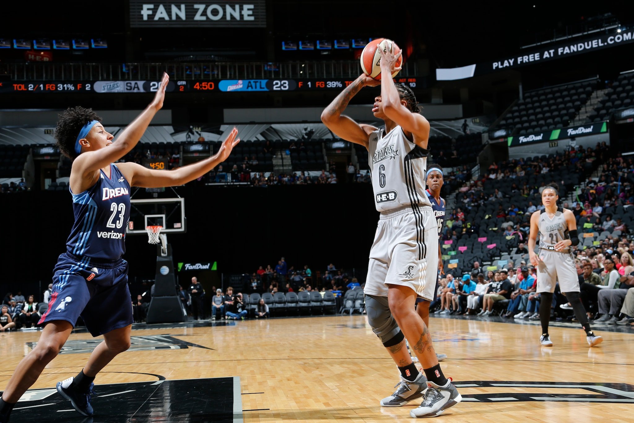 SAN ANTONIO, TX - MAY 14: Alex Montgomery #6 of the San Antonio Stars defends the balll against the Atlanta Dream during the game on May 14, 2016 at AT&T Center in San Antonio, Texas. NOTE TO USER: User expressly acknowledges and agrees that, by downloading and or using this Photograph, user is consenting to the terms and conditions of the Getty Images License Agreement. Mandatory Copyright Notice: Copyright 2016 NBAE (Photo by Chris Covatta/NBAE via Getty Images)