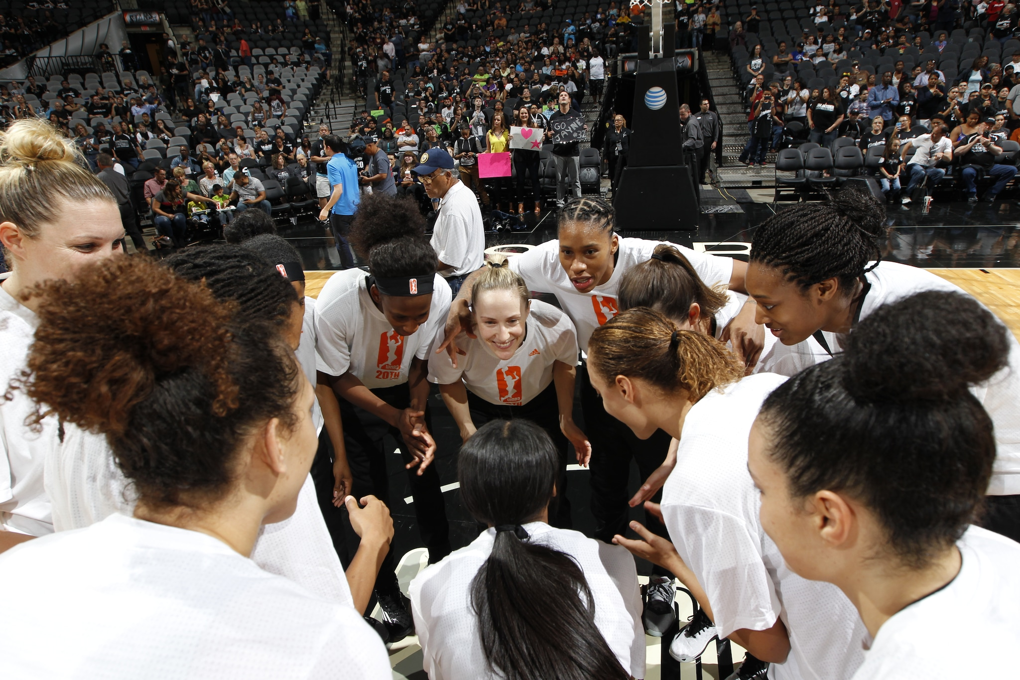 SAN ANTONIO, TX - MAY 14: The San Antonio Stars huddle before the game against the Atlanta Dream on May 14, 2016 at AT&T Center in San Antonio, Texas. NOTE TO USER: User expressly acknowledges and agrees that, by downloading and or using this Photograph, user is consenting to the terms and conditions of the Getty Images License Agreement. Mandatory Copyright Notice: Copyright 2016 NBAE (Photo by Chris Covatta/NBAE via Getty Images)