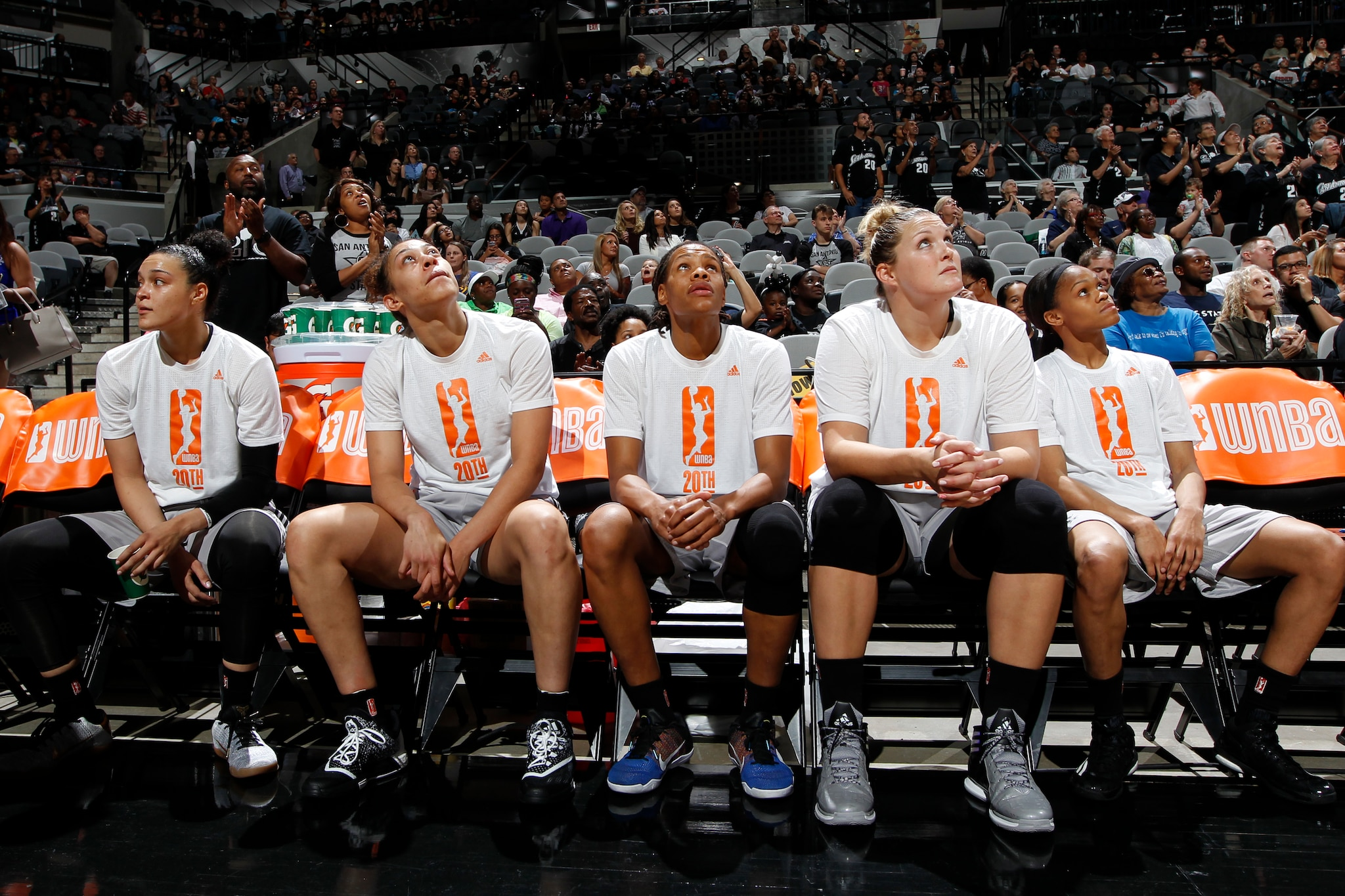SAN ANTONIO, TX - MAY 14: The San Antonio Stars before the game against the Atlanta Dream on May 14, 2016 at AT&T Center in San Antonio, Texas. NOTE TO USER: User expressly acknowledges and agrees that, by downloading and or using this Photograph, user is consenting to the terms and conditions of the Getty Images License Agreement. Mandatory Copyright Notice: Copyright 2016 NBAE (Photo by Chris Covatta/NBAE via Getty Images)