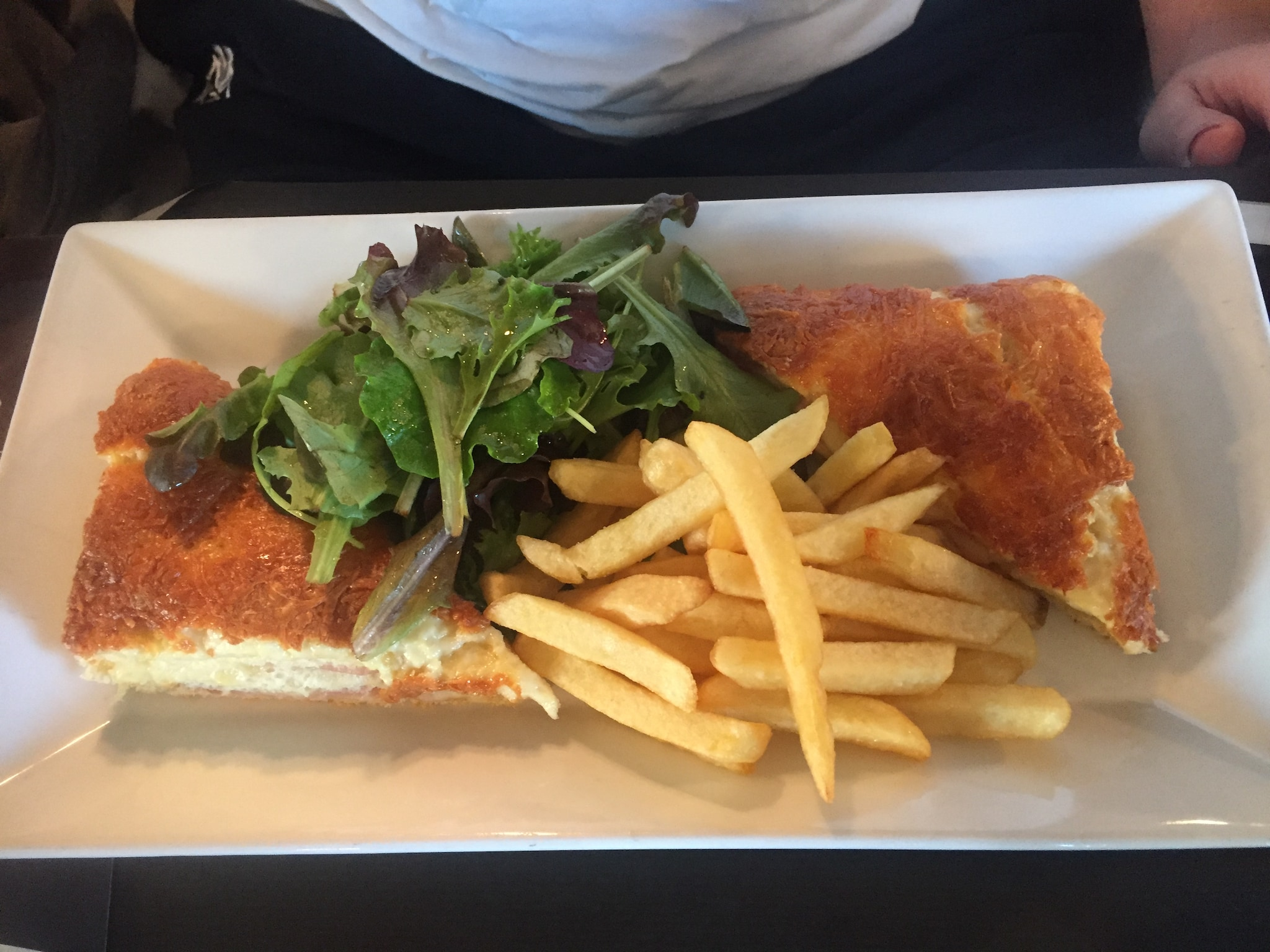 From Paris: Very similar to a grilled cheese sandwich. This is a boiled ham and cheese sandwich that you can either bake or fry. If you're wondering what the female version of this dish is, simply add a fried egg on top of the sandwich and go from Croque Monsieur to Croque Madame!