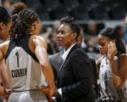 SAN ANTONIO, TX - MAY 27: Assistant coach Vickie Johnson of the the San Antonio Stars talks with Monique Currie #1 of the San Antonio Stars during the game against the Chicago Sky on May 27, 2016 at AT&T Center in San Antonio, Texas. NOTE TO USER: User expressly acknowledges and agrees that, by downloading and or using this Photograph, user is consenting to the terms and conditions of the Getty Images License Agreement. Mandatory Copyright Notice: Copyright 2016 NBAE (Photo by Chris Covatta/NBAE via Getty Images)