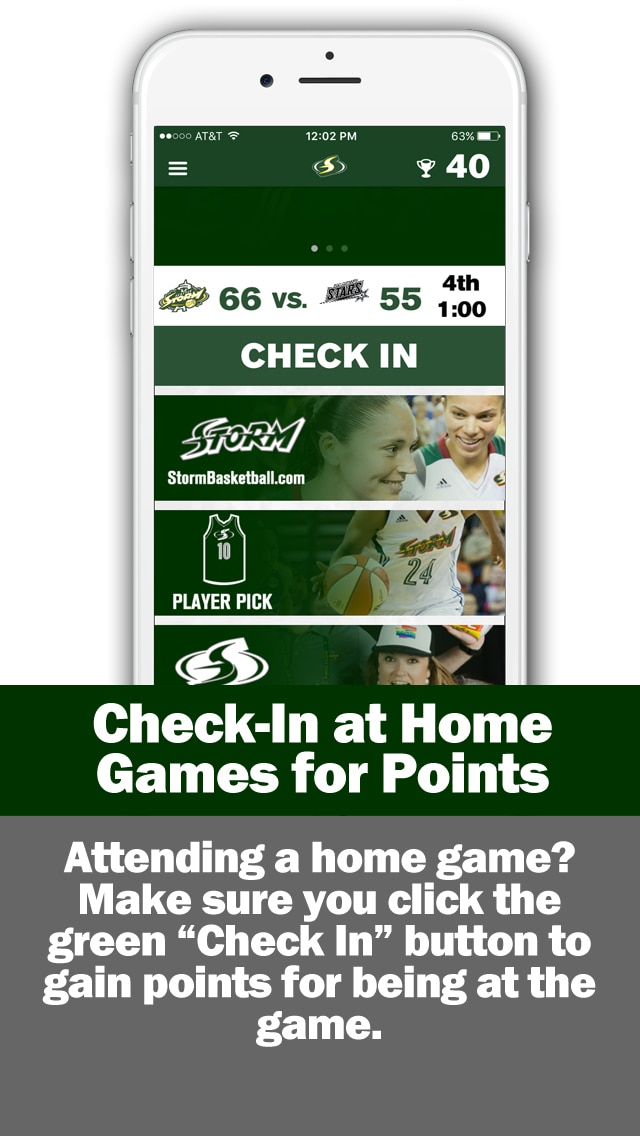 Check in at home games for points