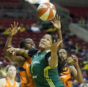 Markeisha Gatling battles for an offensive rebound. (Neil Enns/Storm Photos)