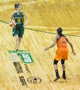 Sue Bird brings the ball up the Carter Subaru court at KeyArena. (Neil Enns/Storm Photos)