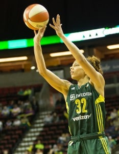 Alysha Clark launches three of her 11 total points during the game. (Neil Enns/Storm Photos)