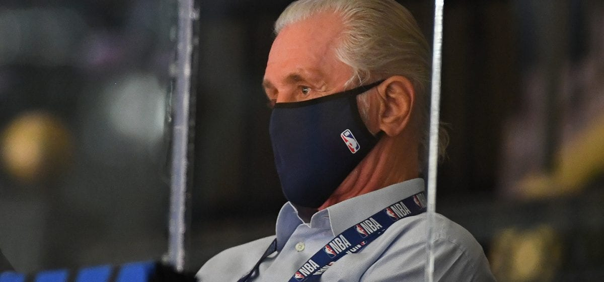 ORLANDO, FL - AUGUST 31: Pat Riley looks on during Game One of the Eastern Conference Semifinals of the NBA Playoffs on August 31, 2020 at the The Field House at ESPN Wide World Of Sports Complex in Orlando, Florida. NOTE TO USER: User expressly acknowledges and agrees that, by downloading and/or using this Photograph, user is consenting to the terms and conditions of the Getty Images License Agreement. Mandatory Copyright Notice: Copyright 2020 NBAE (Photo by Garrett Ellwood/NBAE via Getty Images)