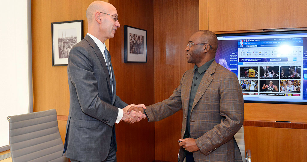 NBA Commissioner Adam Silver (left) with with Econet Founder and Executive Chairman Strive Masiyiwa.